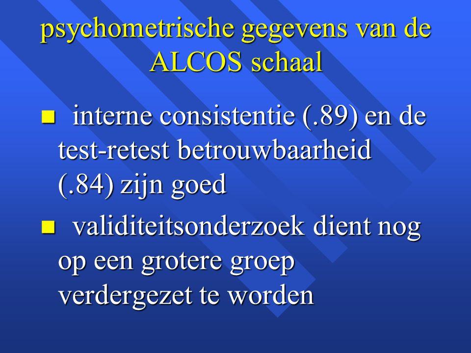 psychometrische gegevens van de ALCOS schaal