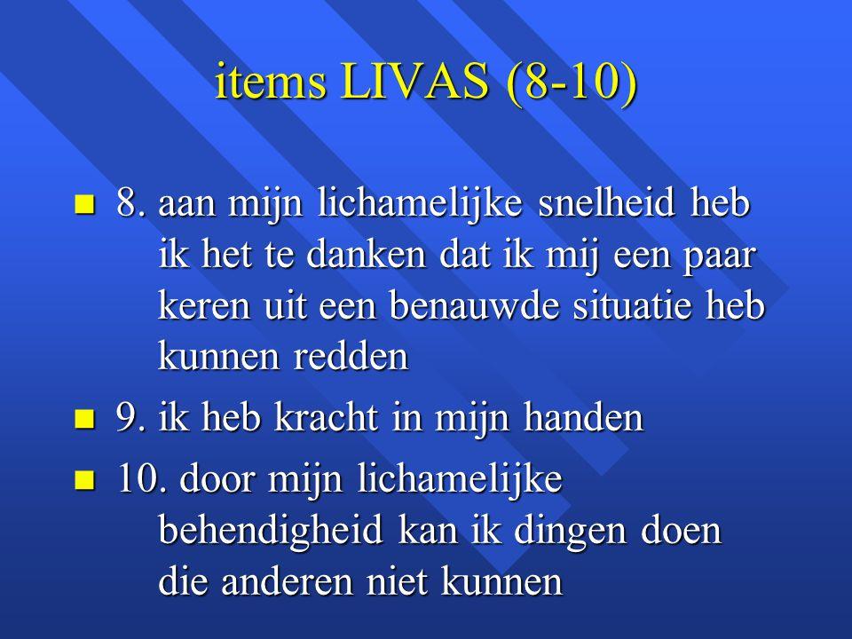 items LIVAS (8-10) 8. aan mijn lichamelijke snelheid heb ik het te danken dat ik mij een paar keren uit een benauwde situatie heb kunnen redden.