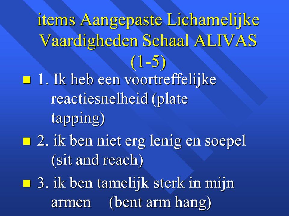 items Aangepaste Lichamelijke Vaardigheden Schaal ALIVAS (1-5)