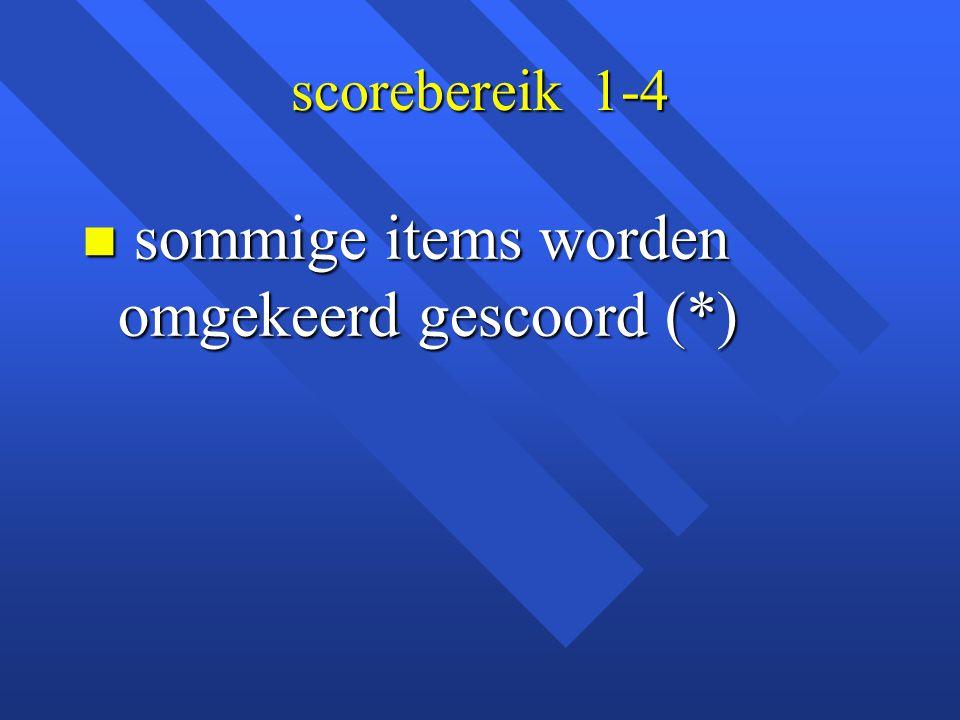 sommige items worden omgekeerd gescoord (*)
