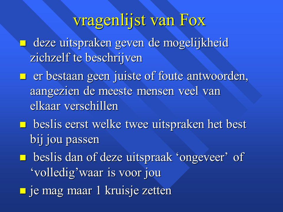 vragenlijst van Fox deze uitspraken geven de mogelijkheid zichzelf te beschrijven.