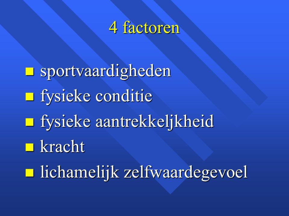 4 factoren sportvaardigheden. fysieke conditie. fysieke aantrekkeljkheid.
