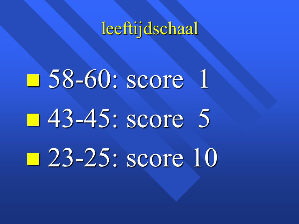 leeftijdschaal 58-60: score 1 43-45: score 5 23-25: score 10