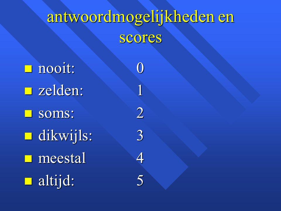 antwoordmogelijkheden en scores