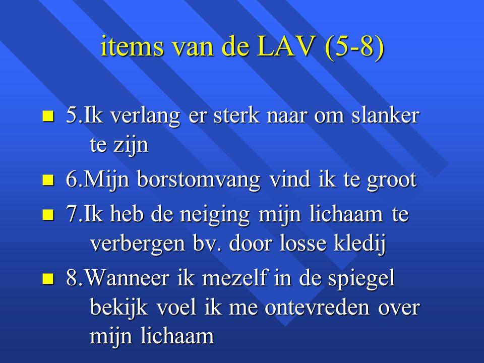 items van de LAV (5-8) 5.Ik verlang er sterk naar om slanker te zijn