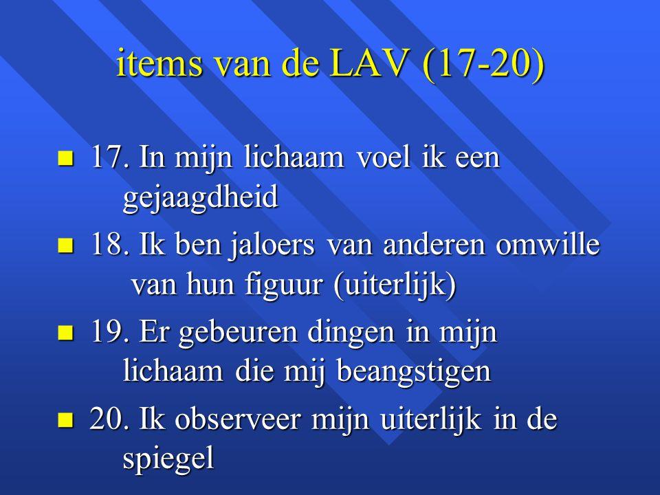 items van de LAV (17-20) 17. In mijn lichaam voel ik een gejaagdheid