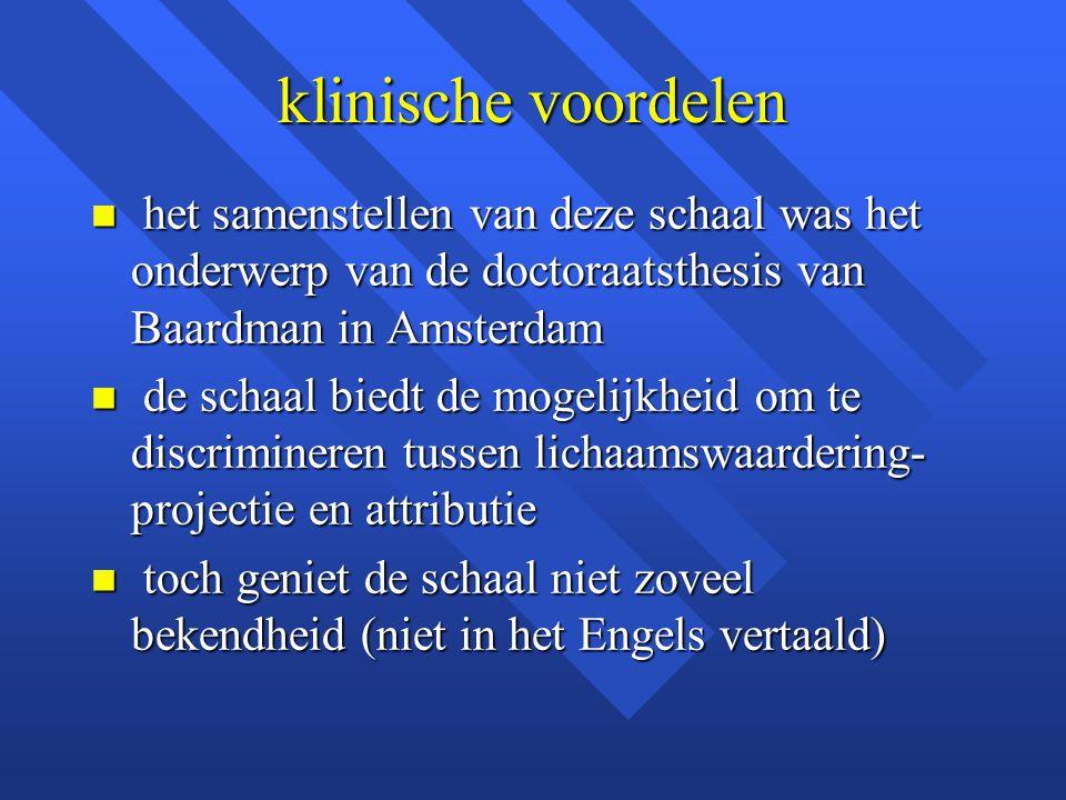 klinische voordelen het samenstellen van deze schaal was het onderwerp van de doctoraatsthesis van Baardman in Amsterdam.