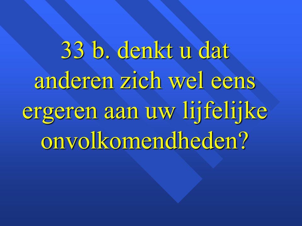 33 b. denkt u dat anderen zich wel eens ergeren aan uw lijfelijke onvolkomendheden