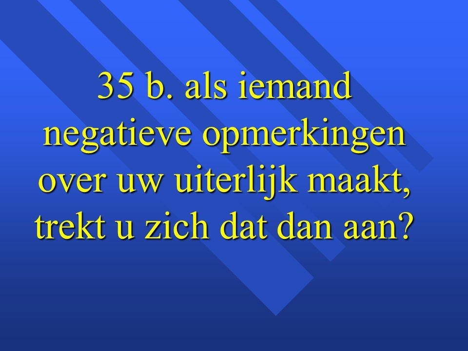 35 b. als iemand negatieve opmerkingen over uw uiterlijk maakt, trekt u zich dat dan aan