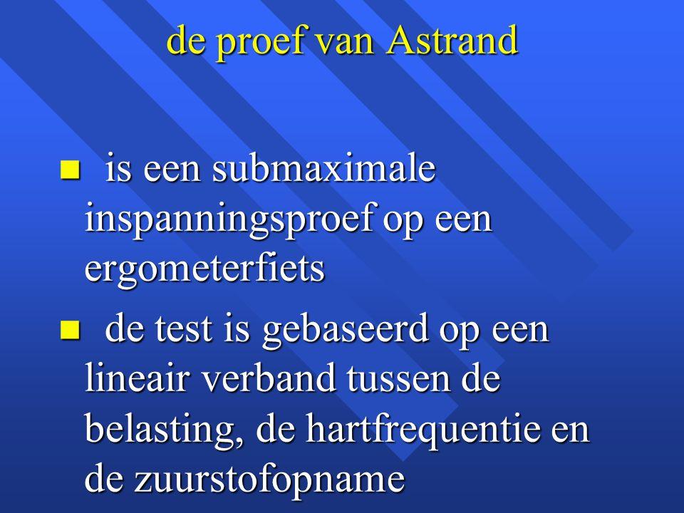 de proef van Astrand is een submaximale inspanningsproef op een ergometerfiets.
