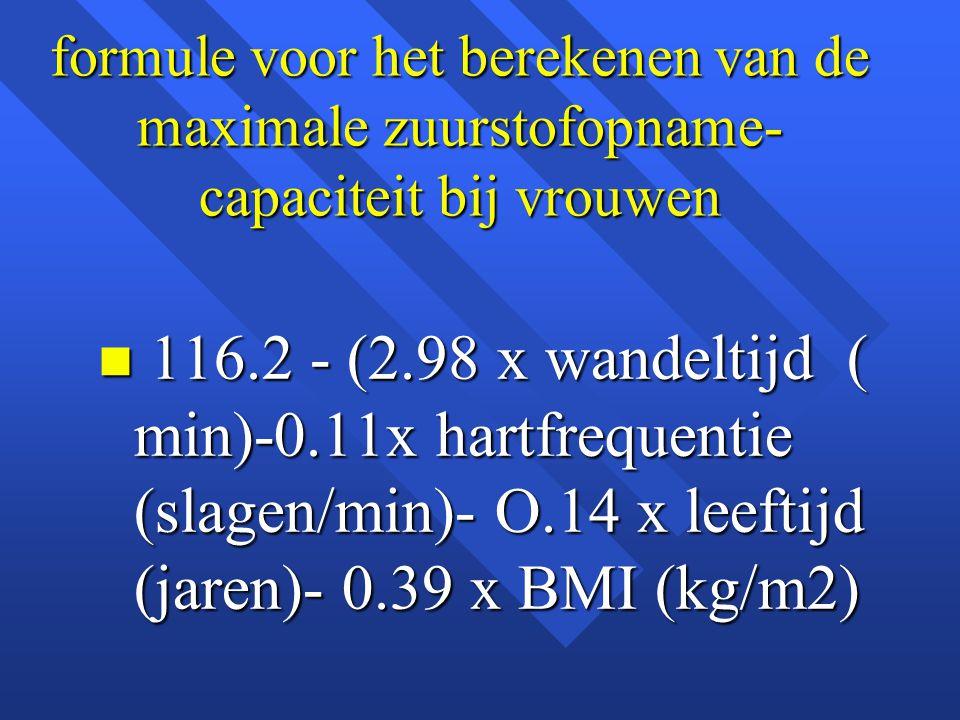 formule voor het berekenen van de maximale zuurstofopname-capaciteit bij vrouwen