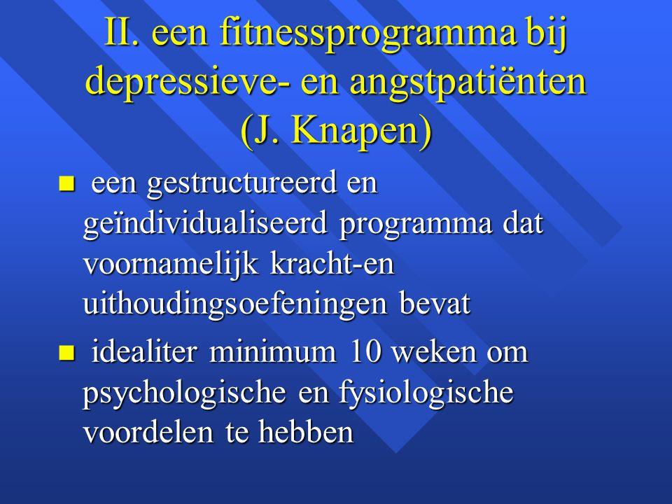 II. een fitnessprogramma bij depressieve- en angstpatiënten (J. Knapen)