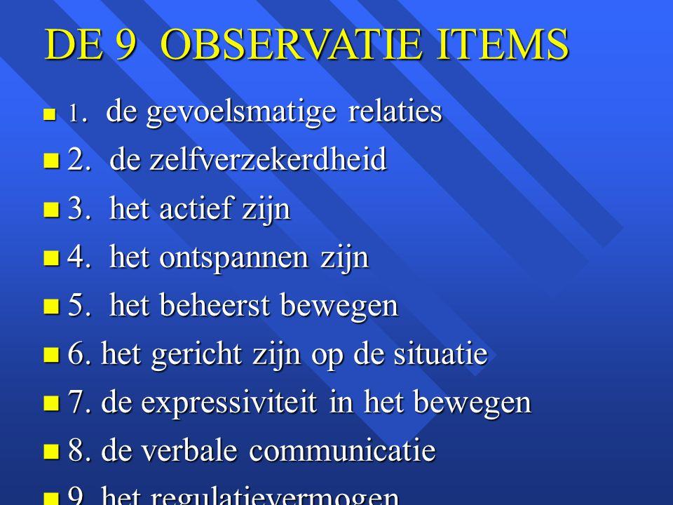 DE 9 OBSERVATIE ITEMS 2. de zelfverzekerdheid 3. het actief zijn