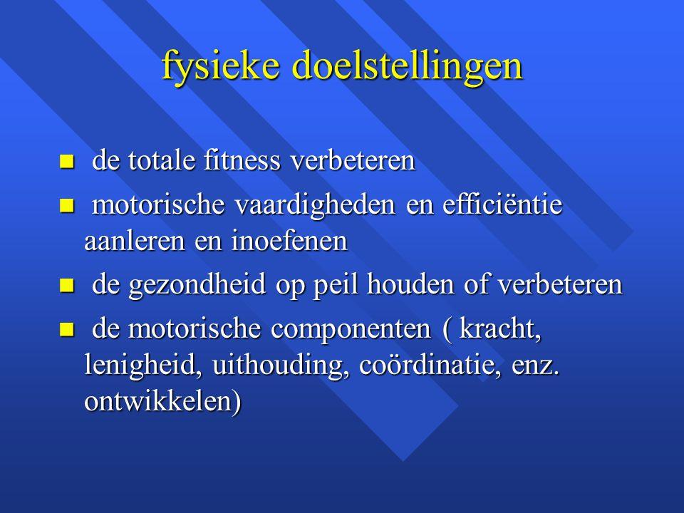 fysieke doelstellingen