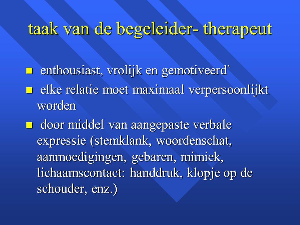 taak van de begeleider- therapeut