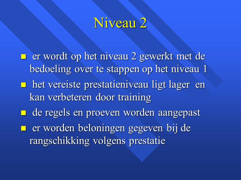 Niveau 2 er wordt op het niveau 2 gewerkt met de bedoeling over te stappen op het niveau 1.