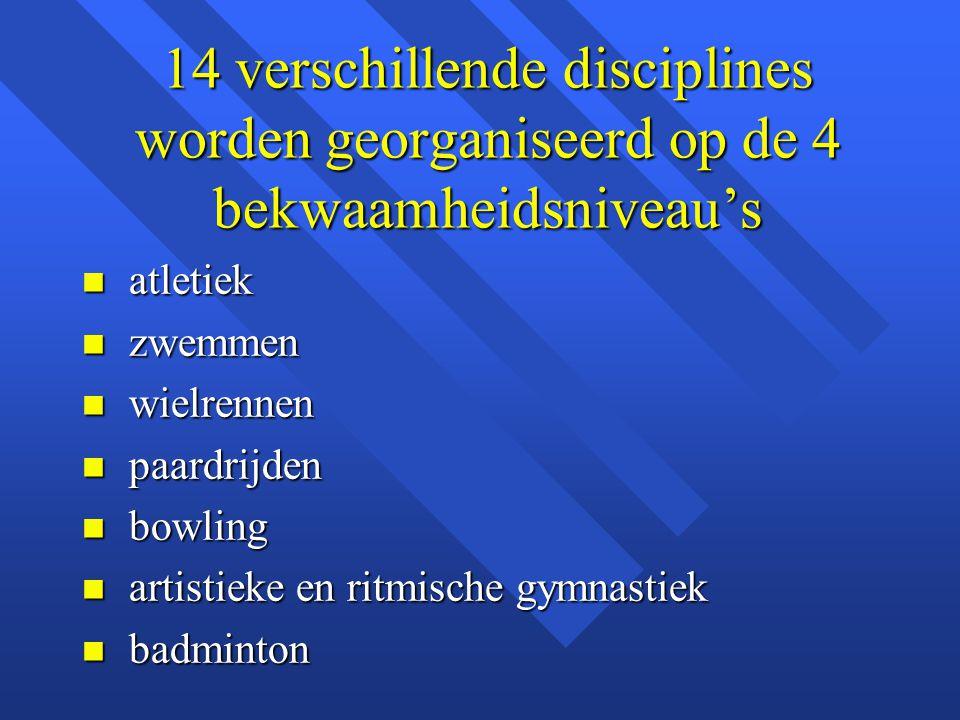 14 verschillende disciplines worden georganiseerd op de 4 bekwaamheidsniveau's