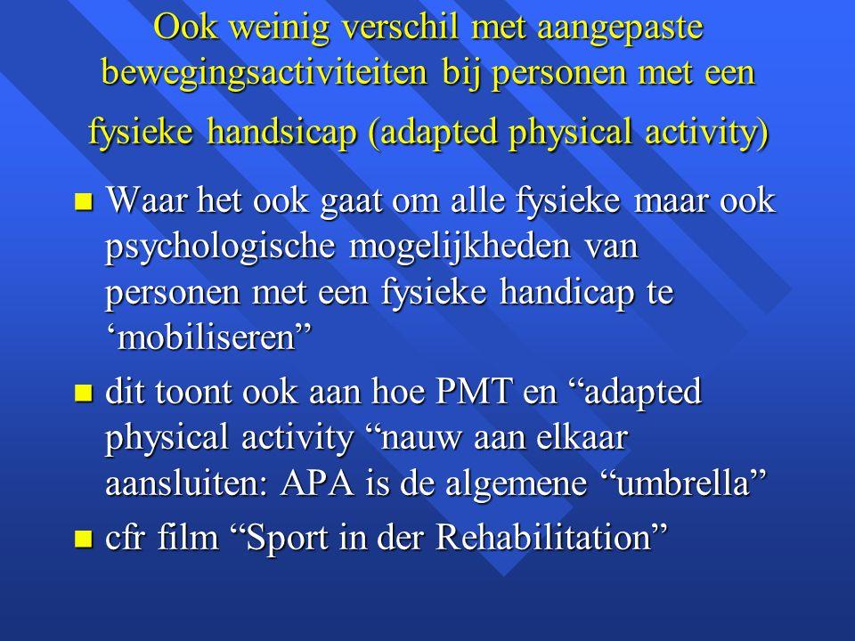 Ook weinig verschil met aangepaste bewegingsactiviteiten bij personen met een fysieke handsicap (adapted physical activity)