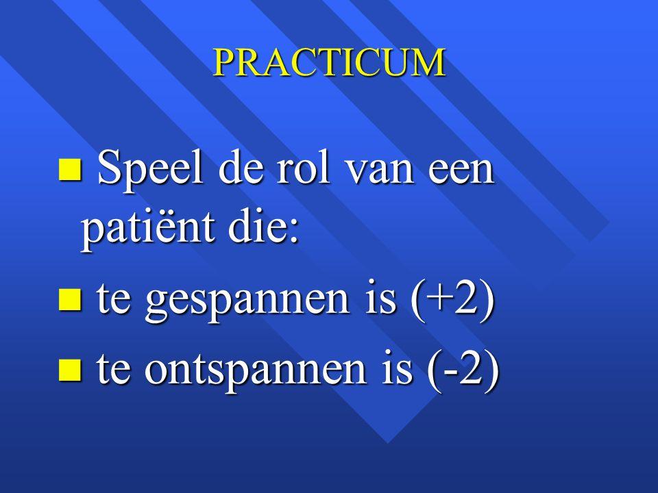 Speel de rol van een patiënt die: te gespannen is (+2)