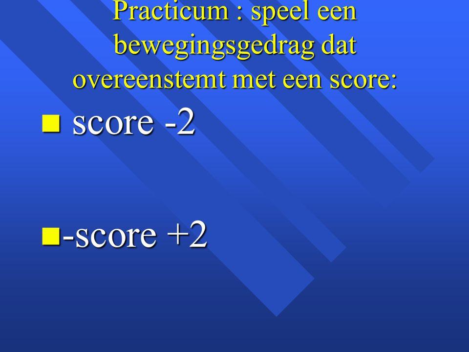 Practicum : speel een bewegingsgedrag dat overeenstemt met een score: