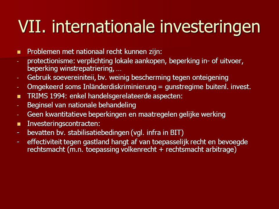 VII. internationale investeringen