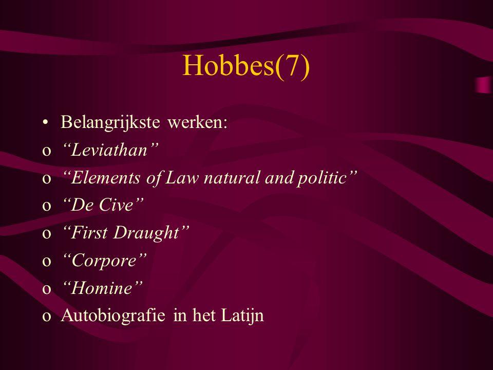 Hobbes(7) Belangrijkste werken: Leviathan