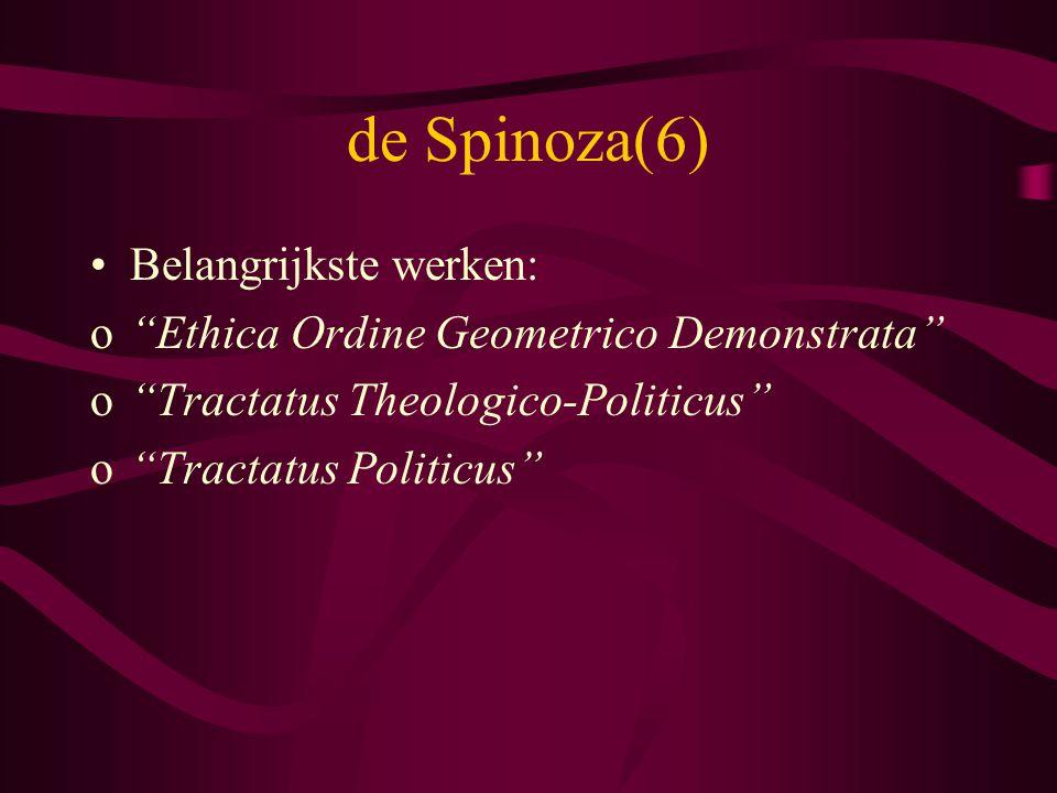 de Spinoza(6) Belangrijkste werken: