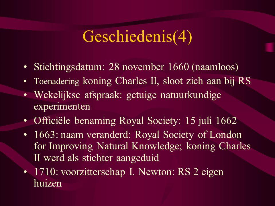 Geschiedenis(4) Stichtingsdatum: 28 november 1660 (naamloos)