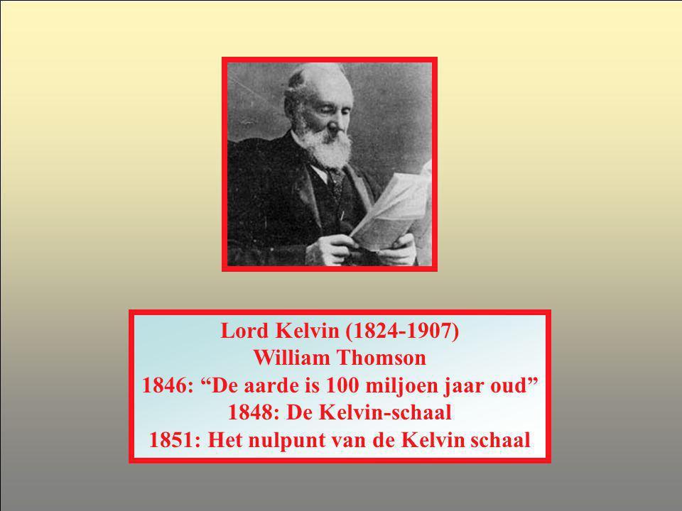 1846: De aarde is 100 miljoen jaar oud 1848: De Kelvin-schaal
