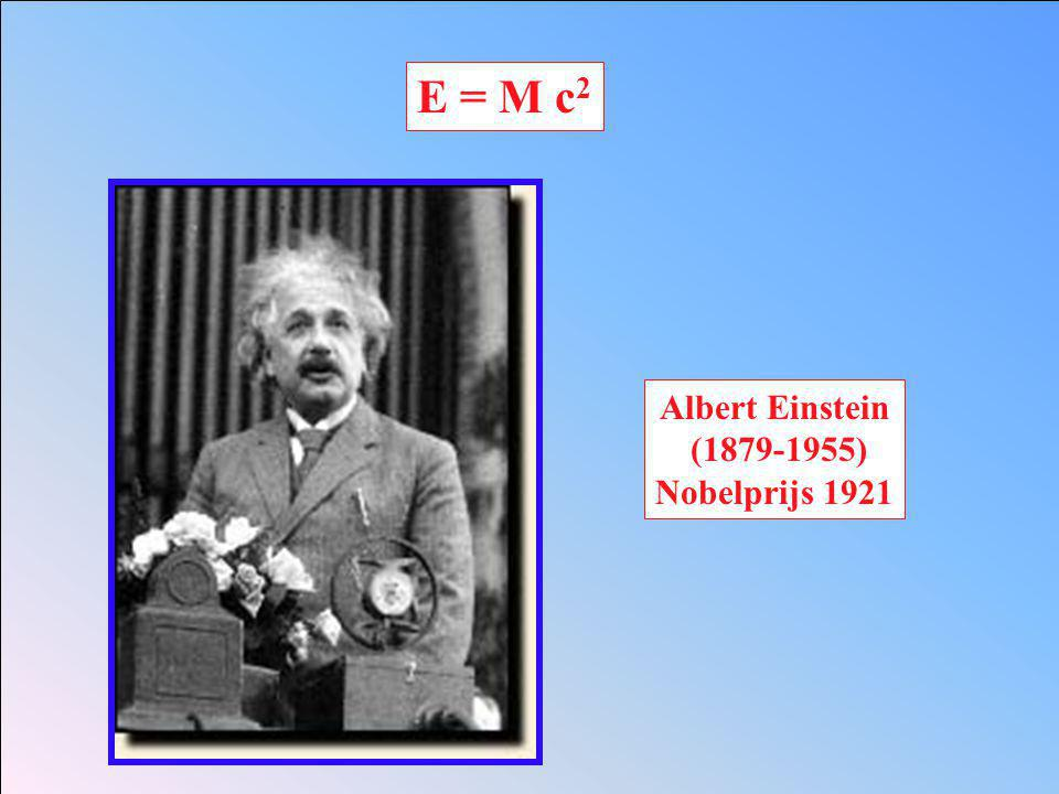 E = M c2 Albert Einstein (1879-1955) Nobelprijs 1921