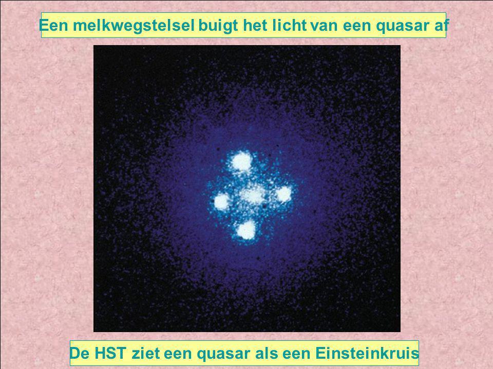Een melkwegstelsel buigt het licht van een quasar af