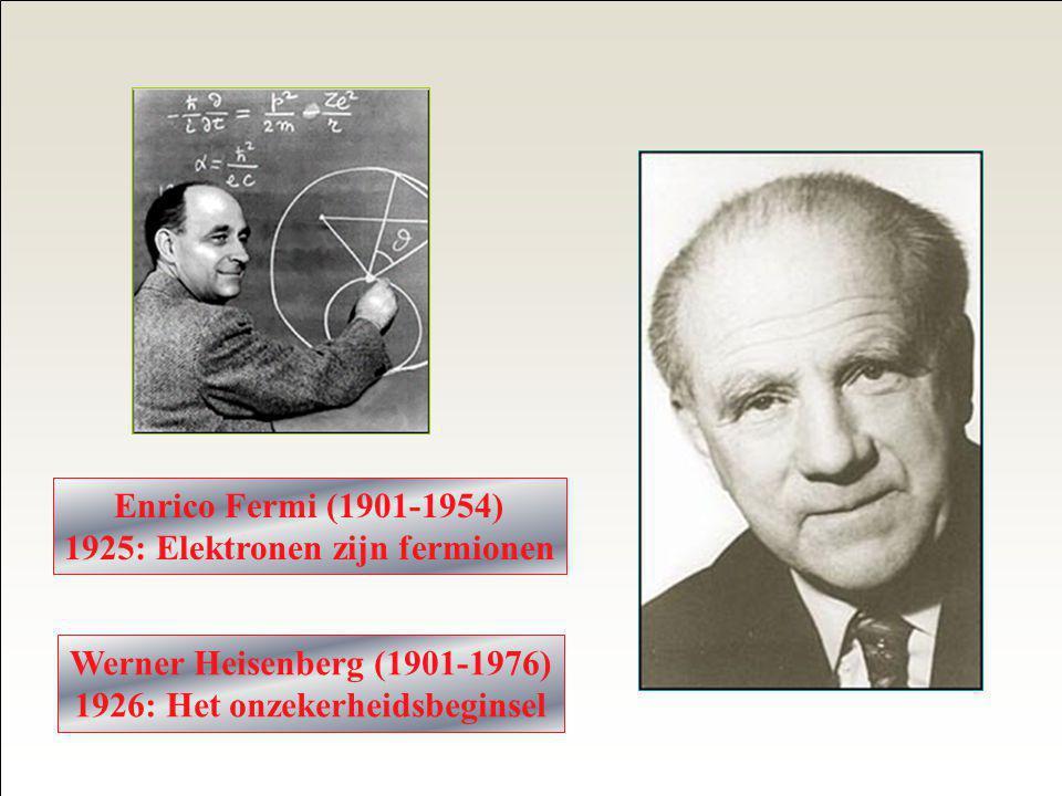 1925: Elektronen zijn fermionen 1926: Het onzekerheidsbeginsel