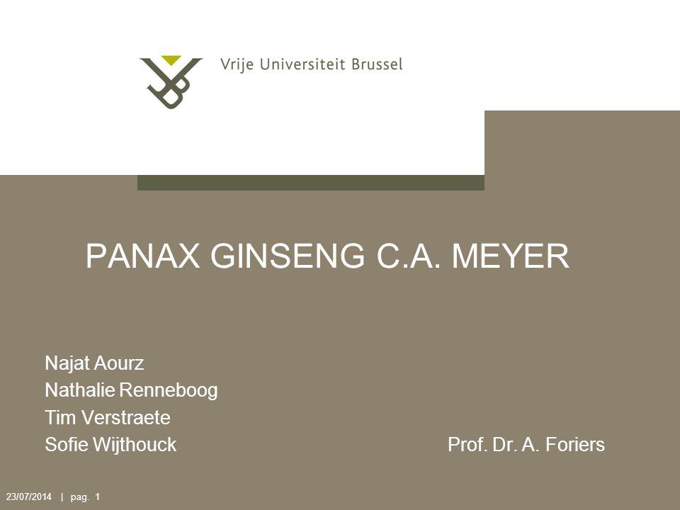 PANAX GINSENG C.A. MEYER Najat Aourz Nathalie Renneboog Tim Verstraete