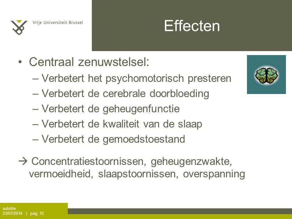 Effecten Centraal zenuwstelsel: