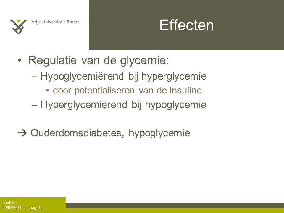Effecten Regulatie van de glycemie: Hypoglycemiërend bij hyperglycemie