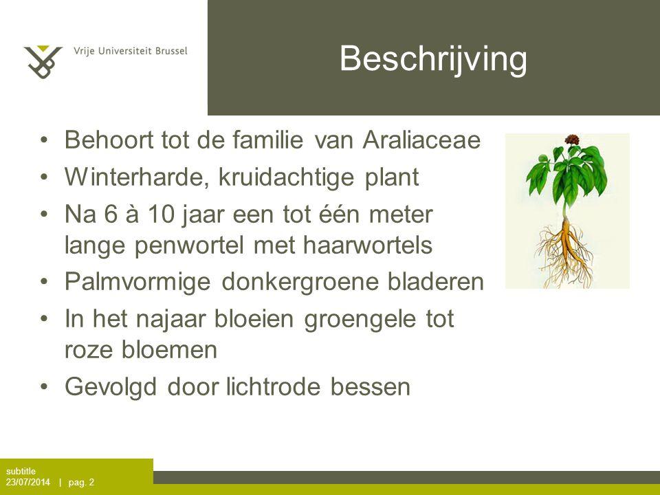 Beschrijving Behoort tot de familie van Araliaceae