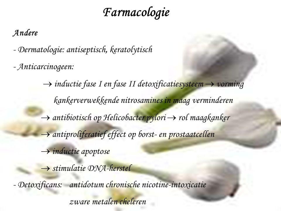 Farmacologie Andere Dermatologie: antiseptisch, keratolytisch