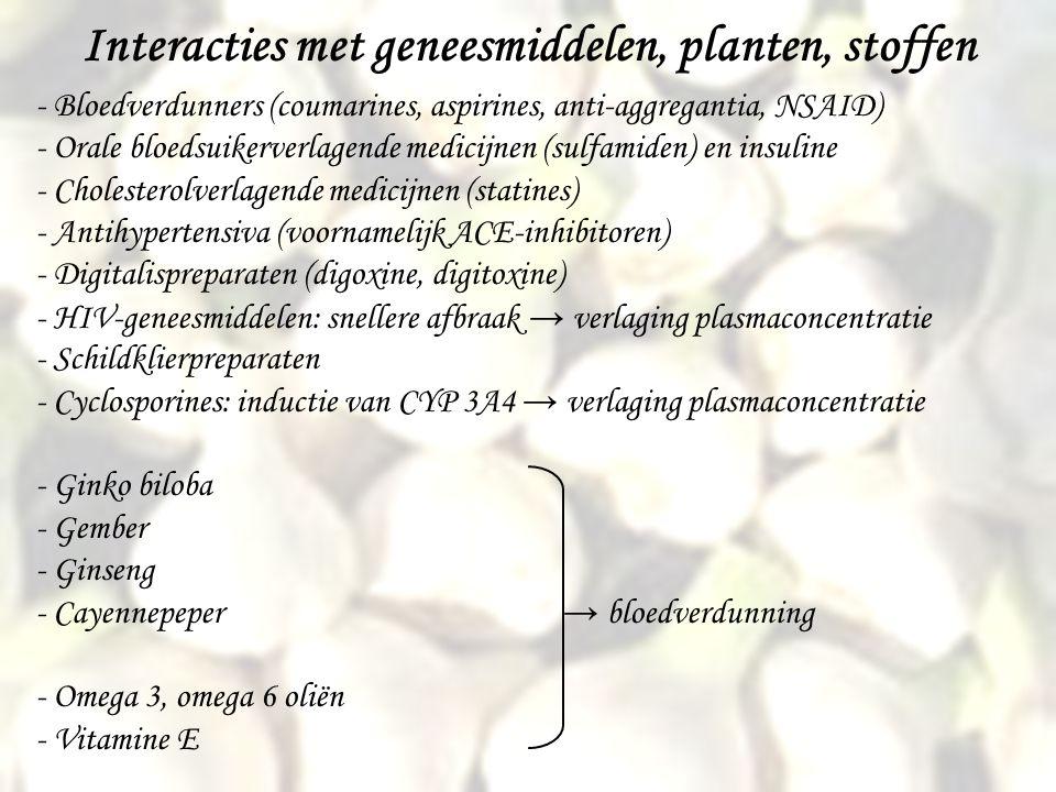 Interacties met geneesmiddelen, planten, stoffen