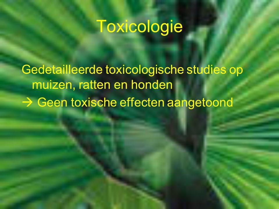 Toxicologie Gedetailleerde toxicologische studies op muizen, ratten en honden.  Geen toxische effecten aangetoond.