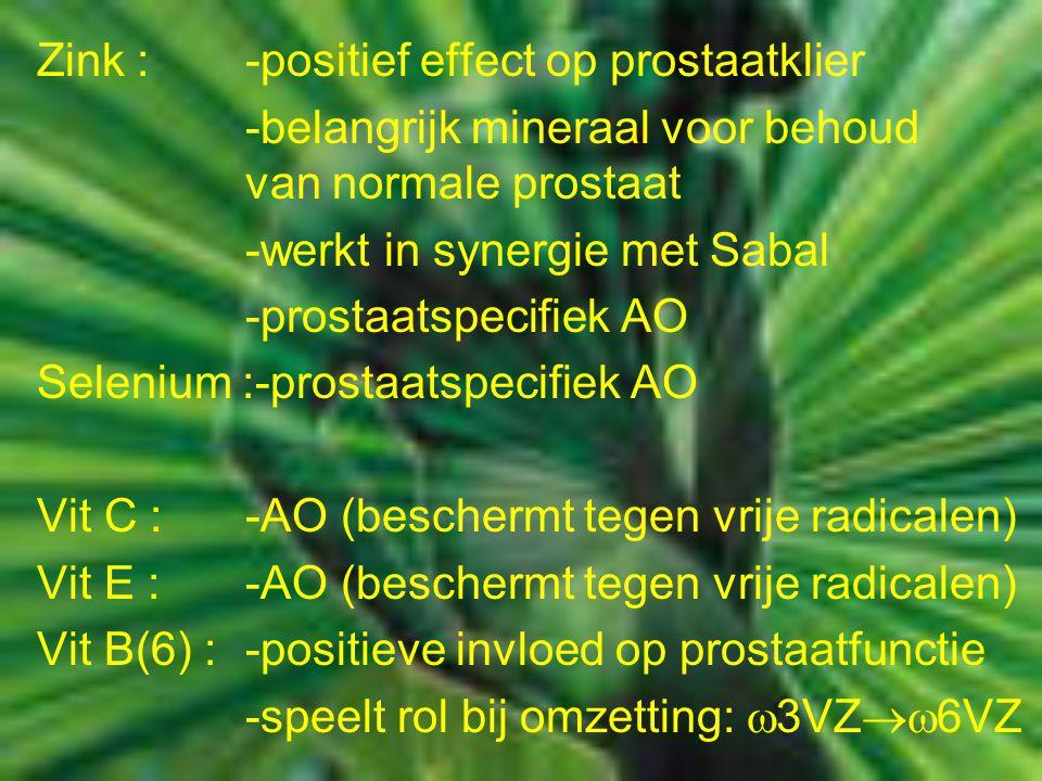Zink : -positief effect op prostaatklier