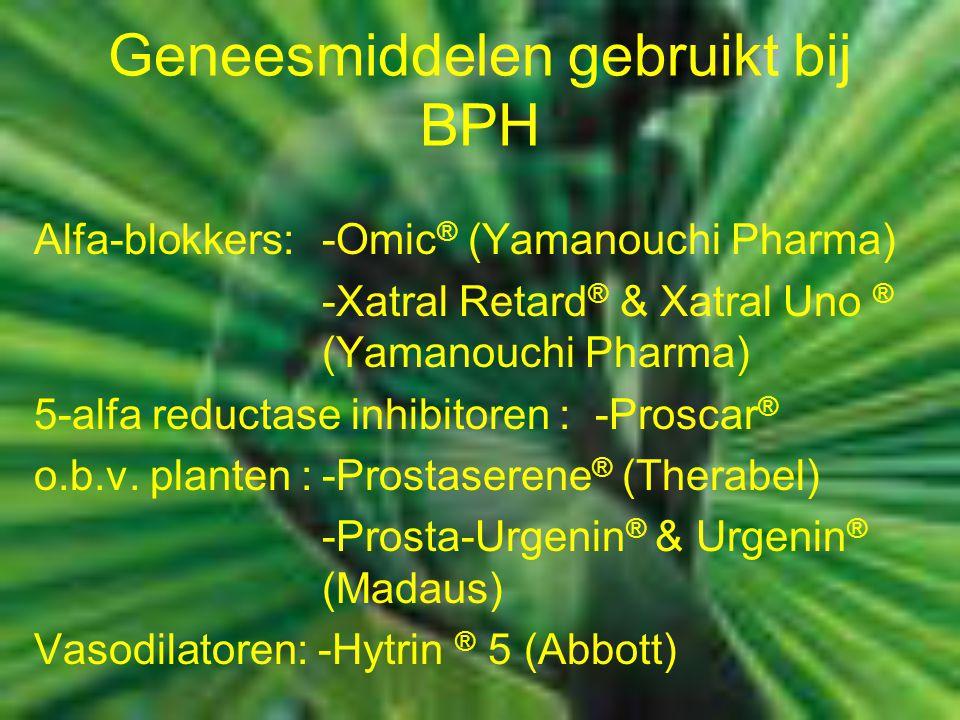 Geneesmiddelen gebruikt bij BPH