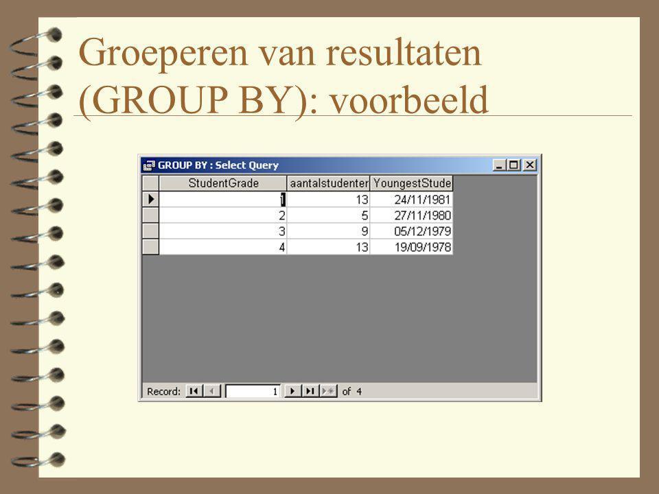 Groeperen van resultaten (GROUP BY): voorbeeld