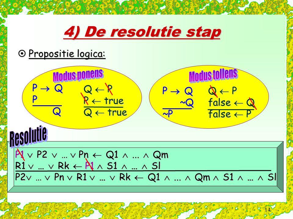 4) De resolutie stap Propositie logica: P  Q P Q ~Q ~P Q  P P  true