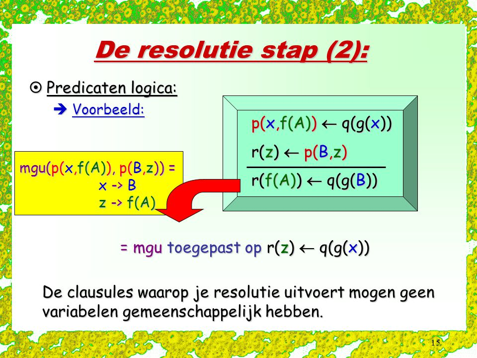 De resolutie stap (2): Predicaten logica: p(x,f(A))  q(g(x))
