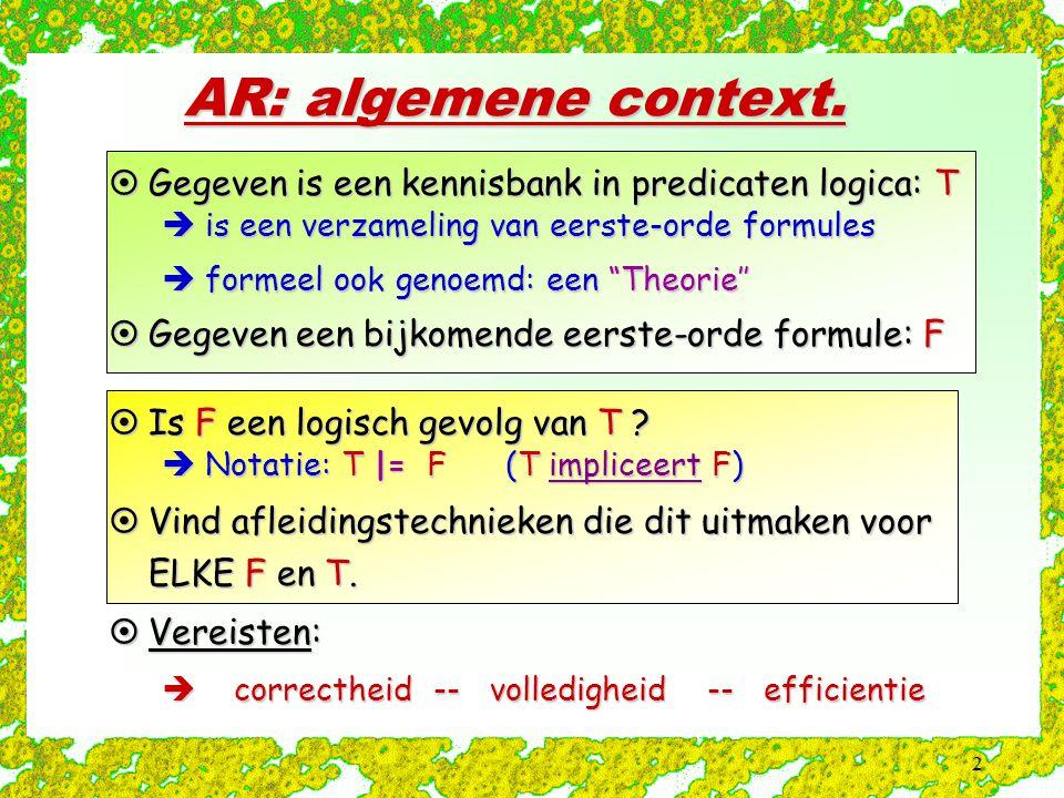 AR: algemene context. Gegeven is een kennisbank in predicaten logica: T. is een verzameling van eerste-orde formules.