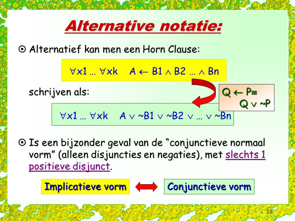 Alternative notatie: x1 … xk A  B1  B2 …  Bn
