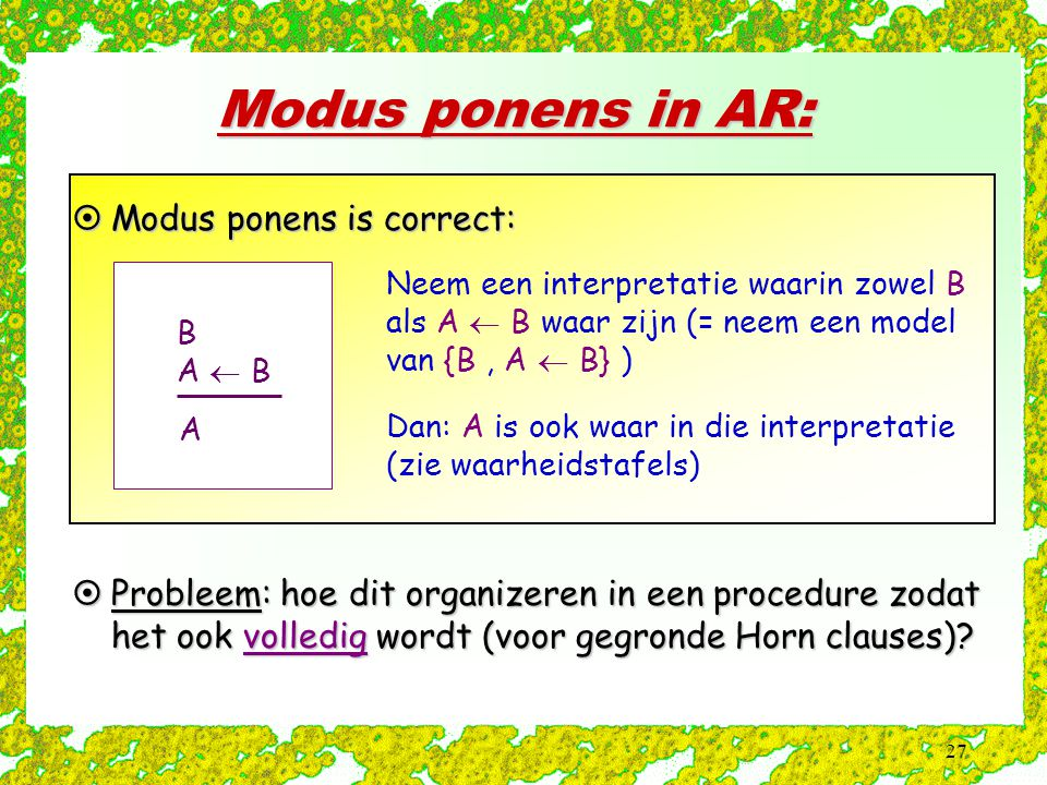 Modus ponens in AR: Modus ponens is correct: