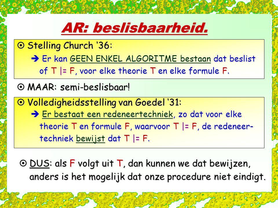 AR: beslisbaarheid. Stelling Church '36: MAAR: semi-beslisbaar!