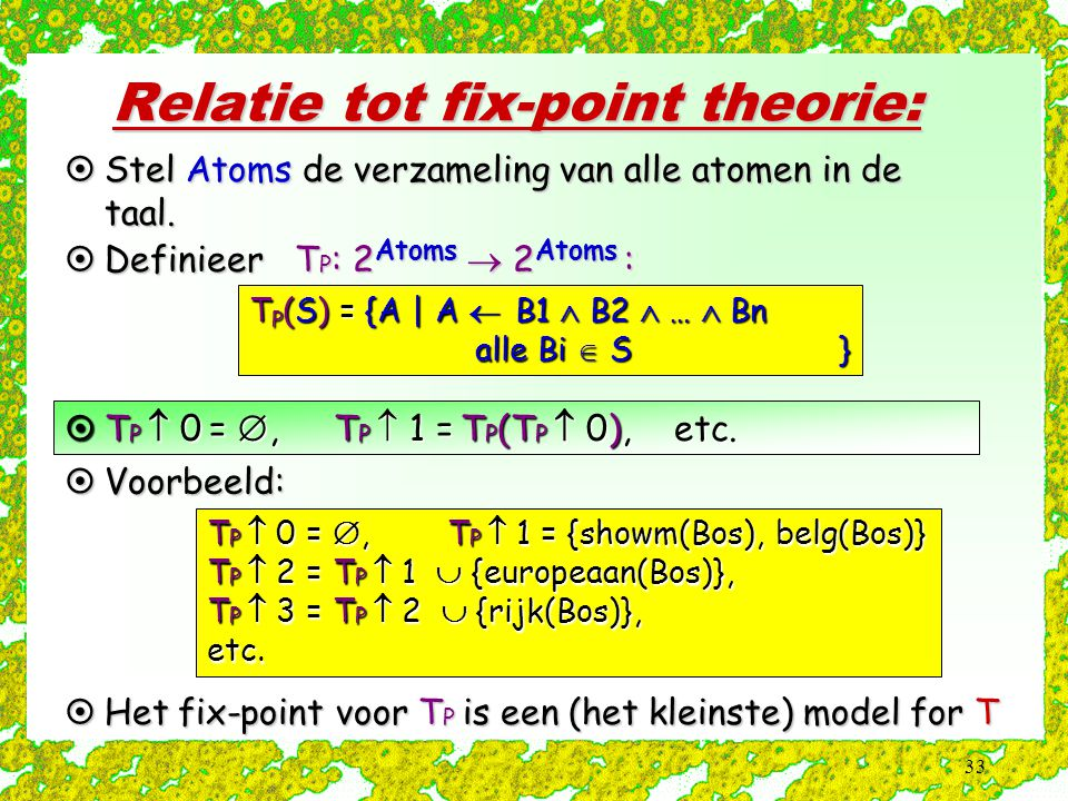 Relatie tot fix-point theorie: