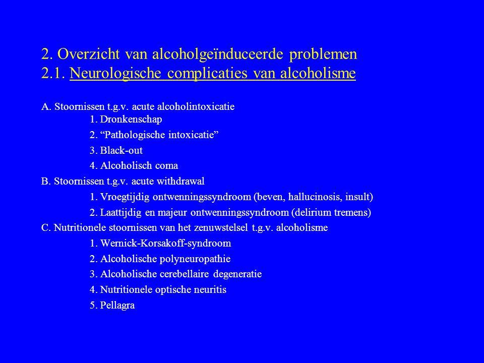 2. Overzicht van alcoholgeïnduceerde problemen 2. 1